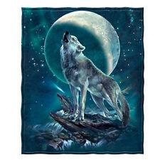 Dawhud Direct Moon Soloist Wolf Super Soft Plush Fleece Throw Blanket