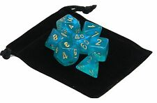 New Chessex Polyhedral Dice with Bag Teal Borealis 7 Piece Set DnD RPG