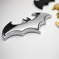 1x Car DECOR ACCESSORIES Cool 3D Batman Logo Insignia Car Decor Sticker Silver