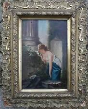 Tableau XIX° siècle : femme dénudée humant les fleurs Ruines + cadre signé L.V.