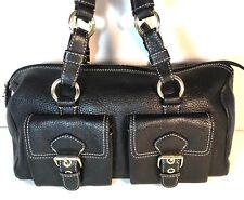 Talbots Black Soft Pebbled Leather Satchel Handbag Goldt one HW
