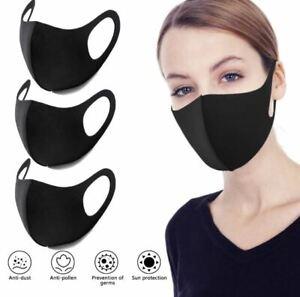 Atemschutz Schutzmaske  Mundschutz Gesichtsmaske Schutz Mask 3 Stück Schwarz