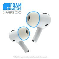 Foam Masters Memory Foam Ear Tips for Apple AirPods Pro Replacement Earbuds WHT