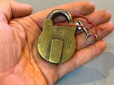 More details for antique brass chubb & sons padlock & key