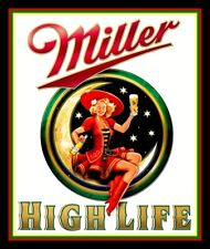 """4.25"""" Miller High Life Girl in the Moon vinyl sticker. Champagne of beers decal."""