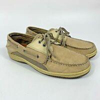 Sperry Top-Sider Mens Billfish 3 Eye Leather Boat Shoes Tan Beige Sz 10M 0799023