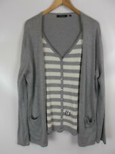 FABIANI Pullover in Strickjackenoptik, grau weiß, Größe L