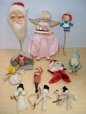 Vintage Lot 11 Pc. Christmas Ornaments Chenille, Cotton Spun, Gnome, Angel, Etc.