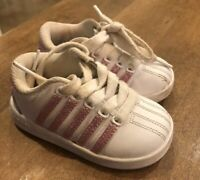 K-Swiss Classic Tennis Shoe Infant Toddler White Pink Leather Size 5 US Toddler