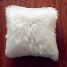 "1pcs Faux sheepskin Fur Square White Pillowcase Cushion 22""x22"" & fabric back"
