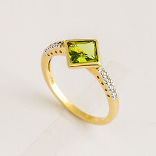 NATURAL PERIDOT RING GENUINE DIAMONDS 9K 375 GOLD SIZE O AUGUST BIRTHSTONE NEW