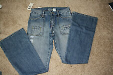 NWT Old Navy Size 4 Straight Leg Cut Low Waist Jeans Med Blue 100% Cotton