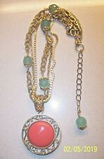 GENUINE EXTASIA  CORAL PENDANT TRIPLE STRAND NECKLACE & SEAFOAM GLASS BEADS