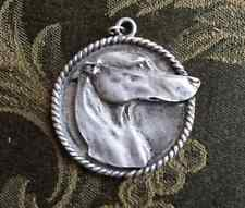RACING DOG ANIMAL 1 PUREBRED GREYHOUND PEWTER PENDANT or POCKET COIN ALL NEW.