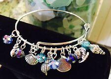 Sea conch & Clam Shells/Ocean *12*charms-Silver charm Expandable Bangle Bracelet