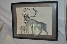 "Vintage Charcoal Elk & Fawn Art Framed Picture Cabin Man Cave 21"" X 17"""