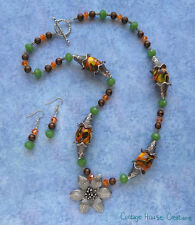 Indian Summer ~ Flower Pendant Beaded Necklace Kit with Earrings Instructions