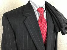 Givenchy Monsieur Charcoal Gray One Button Suit 46 Long 40 X 30.75 Pleated Wool