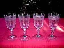 SAINT LOUIS PAPIN 4 WINE CRYSTAL GLASSES VERRE A VIN CRISTAL GRAVÉ ART NOUVEAU B