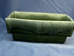Moss green with white drip Mint Vintage hull #F42 indoor planter