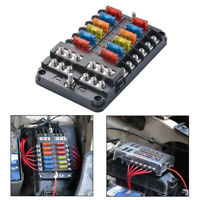 Blade Fuse Box Holder Block LED Indicator ATC ATO 12-Way Waterproof MA1813