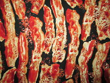 Bacon Strips Stacked Bacon Snacks Food Cotton Fabric FQ