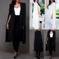 Fashion Women's Cape Cardigan Blazer Long Cloak Jacket Trench Coat Outwear Party