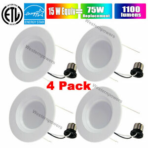 Westernpowers 4 Pack  6-INCH RETROFIT RECESSED LED LIGHT 15W 1100 LUMEN DIMMABLE