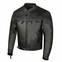 Men Throttle Classic Leather Motorcycle Street Cruiser CE Armor Biker Jacket