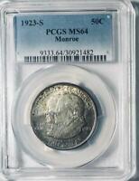 1923-S Monroe Doctrine Commemorative Silver Half Dollar- PCGS MS 64 -Toned