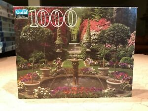 """Hasbro/Guild Puzzle """"Fountain and Garden in Bloom"""" 1000 Piece Puzzle"""