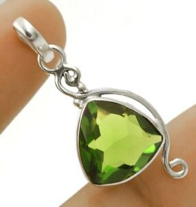"""3CT Peridot 925 Solid Sterling Silver Pendant Jewelry 1 1/2"""" Long NW3-5"""
