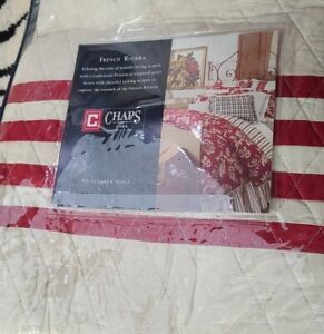 3pc Set CHAPS FRENCH RIVIERA Cotton RED STRIPE FULL/QUEEN Diamond QUILT Shams