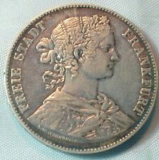 1860 Frankfurt Germany  Silver Thaler with Colorful Toning from Old Estate (767)