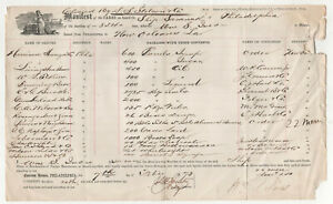 1873 SHIP SARANAK Philadelphia Pennsylvania CARGO MANIFEST Document NEW ORLEANS