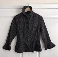 LRL Ralph Lauren Black Stripe Peplum Blazer Womens Size 4 3/4 Bell Sleeves