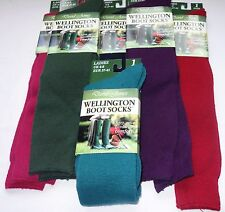 LADIES LONG WELLINGTON BOOT SOCKS SIZE 4 - 8 FULL CUSHIONING BRACE YOURSELF