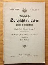 Kettner Mühlhäuser Geschichtsblätter Jg 18/19 1919 Ortskunde Thüringen xz
