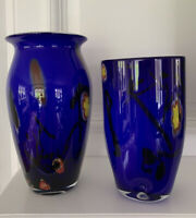 Lot 2 LARGE HAND BLOWN CASED GLASS VASE COBALT BLUE Multi Floral Abstract MCM