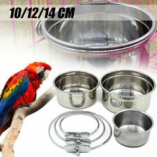 New listing Stainless Steel Parrot Bird Hanging Bowl Feeding Cage Dog Cat Water Food Dish