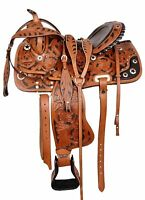 "new Leather Western Barrel Racing Horse Saddle Tack Set Size 14"" to 18"""