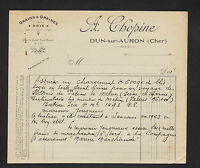 """DUN-sur-AURON (18) GRAINS GRAINES NOIX """"A. CHOPINE"""" en 1923"""