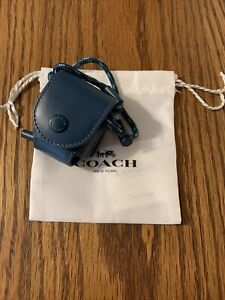 NEW COACH Airpod Earbud Case Lanyard Reef Blue Leather