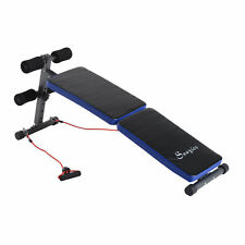 Folding Adjustable Sit Up Bench Ab Decline Workout Fitness w/ Resistance Band