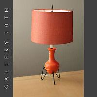 SUPERB! MID CENTURY MODERN ATOMIC ORANGE TRIPOD LAMP! 50'S VTG TABLE MCM SPUTNIK