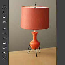 MID CENTURY MODERN SPUTNIK ATOMIC ORANGE TRIPOD LAMP! 1950'S EAMES VTG UFO LIGHT