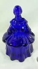 Covered Doll Powder Box Cobalt Blue Glass Colonial Lady Mosser
