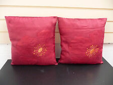 "CUSHION COVERS RED FLORAL SIZE 16"" X 16"" APPROX SQUARE  ( ONE PAIR FREE )  NEW"