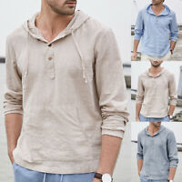 Men's Striped Cotton Linen T Shirt Causal Long Sleeve Hoodies Hoodies Hippy Tops
