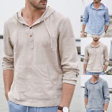 Men's Striped Cotton Linen T Shirt Causal Long Sleeve Hoodies Hoodies Hippy Tops